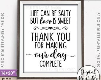 """Popcorn Sign, Life can be salty but Love is Sweet Thank you for making our day complete Sign, 16x20"""" Instant Download Digital Printable File"""