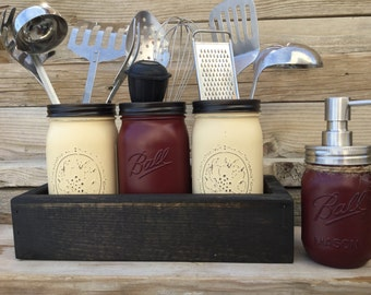 kitchen organization mason jar kitchen utensils holderutensils holder mason jar kitchen decor - Maroon Kitchen Decor