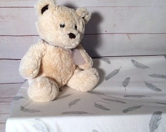 Changing pad cover / change table cover in white with silver or gold feathers for curved or flat mat