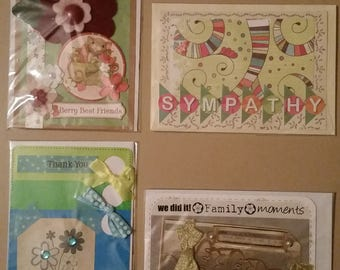 4 x Hand Made Greeting Cards