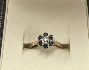 9ct Yellow Gold Sapphire and Diamond Cluster Flower ring size L