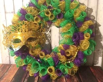 Mardi Gras Deco Mesh Wreath Fat Tuesday