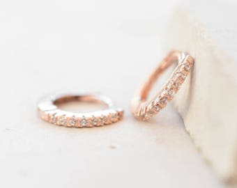 Thin Mini Ear Huggie Hoop Earrings, ROSE GOLD - micro pave CZ cartilage hoops - Different sizes available