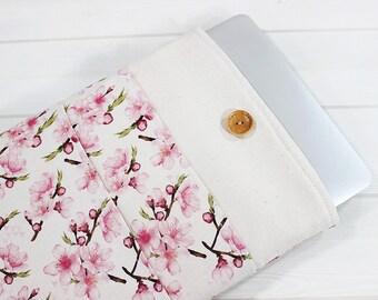 Macbook Pro case, cherry blossom, laptop sleeve, laptop case, Pro Retina sleeve, Macbook sleeve 15, Macbook case 15 inch, gift