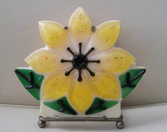 Sparkly Lucite Yellow Flower napkin or mail holder on metal stand / bright sunshine yellow with sparkles / kitsch spring and summer kitchen