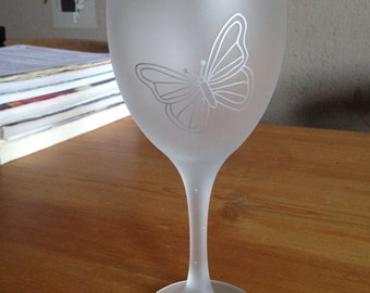 Frosted butterfly wine glass