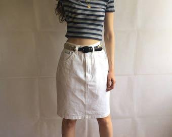 Vintage White Denim High Waist Midi Skirt