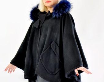 Woman black wool cape/Fur fox hooded black cape/Black coat/Handmade wool coat/Hooded black coat/Luxury loose coat/100% wool cape /C0232