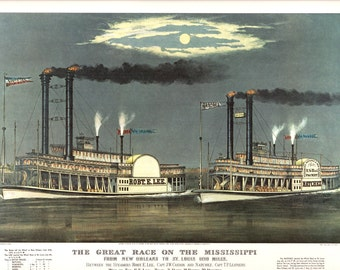 An Extra Large Currier and Ives Print titled The Great Race on the Mississippi. 18 3/4 inches Wide and 14 inches tall.