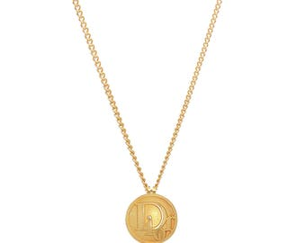 Re-worked Unisex Vintage Button Gold Domed Dior Logo Pendant Necklace 80's