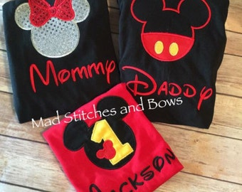 Custom embroidered mickey mouse birthday shirt with mommy and daddy shirts