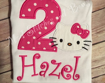 Custom embroidered Hello kitty birthday shirt