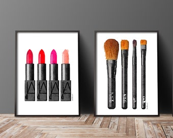 Set of 2 fashion make up posters brushes lipstick Watercolor lipstick art print watercolour fashion illustration make up artist bathroom set