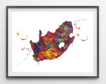 South Africa map print colorful South Africa watercolor poster geography map art South Africa illustration Wall Decor gift [103]