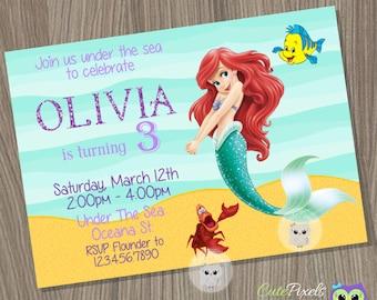 Little Mermaid Invitation, Ariel Invitation, Disney Little Mermaid, Little Mermaid Birthday, Mermaid Invitation, Princess Birthday invite
