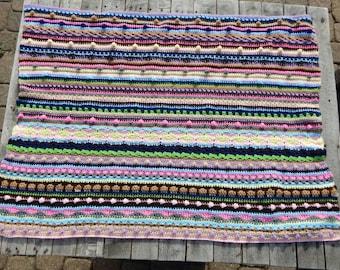 Sampler Baby Blanket; Bright Multi-Colored Blanket; Crochet Textured Baby Afghan; Large Baby Blanket; Boy or Girl Gift; Handmade by Anna