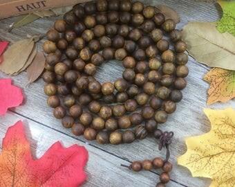 108pcs  8mm Premium Silkwood Phoebe sheareri Zingana Wooden Beads Meditation Prayer Beads Japa Mala Buddha Necklace