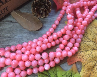 "6mm Pink Seashell Beads Shiny Shell Stone Beads 15"" Loose Beads DIY Suppliers for Jewelry Spacer Charms  1 Strand"