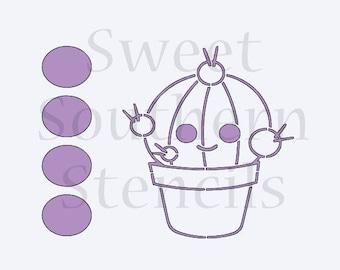 Short Cactus PYO Cookie Stencil