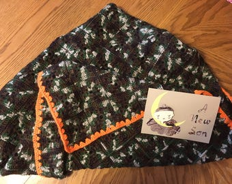 Crochet Camouflage  Baby Afghan with a Camouflage Handmade Greeting Card with Envelope
