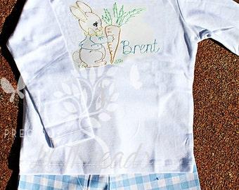 Boys Easter Bunny Monogram Shirt- Baby Boys Bunny Shirt- Toddler Boys Bunny Shirt- Blue Easer- Size 6m, 12m, 18m, 2t, 3t, 4t, 5t, 6