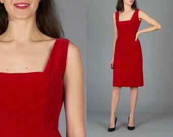 Vintage 50s XS Sexy Red Velvet Dress