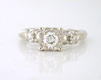 Vintage .46tcw Diamond Engagement Ring 14k white gold Circa 1950