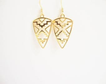 Jewelry ethnic chic pendant shield: earrings and necklace gold plated