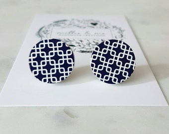 Navy blue blue and white wooden earrings