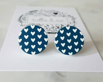 Navy blue and white love heart wooden earrings