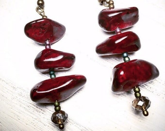 Deep Red Painted Glass Earrings
