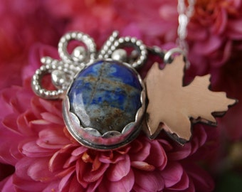 Lapis Lazuli Maple Leaf Necklace- Nature Inspired Pendant- Autumn Sky Necklace