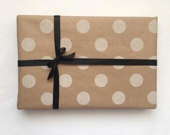 White Polka Dot Kraft Wrapping Paper - 100cm x 50cm