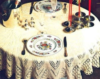 Circular Tablecloth Knitting Pattern Vintage Round 52 inch Diameter Row by Row PDF Instant Download sKU 49-9