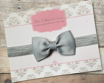 Gray Baby Headband, Grey Baby Girl Headband, Newborn Headband, Toddler Headband, Hair bow Headband, hair accessorie, Baby gift, Silver