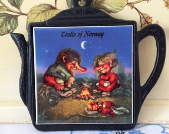 Trolls of Norway, Cast Iron and Ceramic Trivet/Pot Holder/Decorative Wall Hanging.
