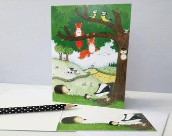 Woodland animals greeting card, wildlife, hedgehog, fox, sheep, badger, mole, owl, squirrel, blue tits, rabbits and cottage! Blank inside