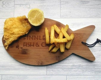 Personalised Fish and Chip Serving Board, Fish and Chips, Takeaway, Food, Cooking, Dinner, Home gifts, Kitchenware (00197)