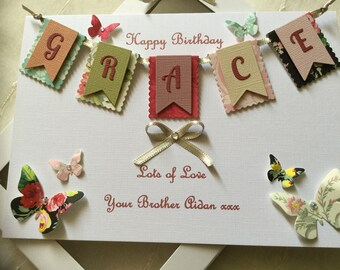 Handmade Personalised Boxed Bunting Card Birthday Anniversary Daughter Sister Wife Girlfriend Mum Nan Friend