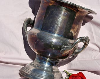 Champagne Ice Bucket Rainbow Patina Silver Plate - Classic Urn Shape with Ornate Handles and Rim