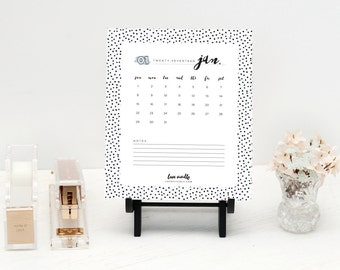 2017 Calendar Printable, Desktop Calendar, Black and White Polka Dot Pattern