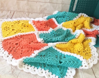 Crochet baby blanket - granny square blanket - turquoise blanket - turquoise, yellow, peach baby afghan - nursery decor - baby girl baby boy