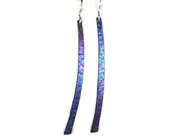 Earrings iridescent colorful niobium blades with sterling ear wires.