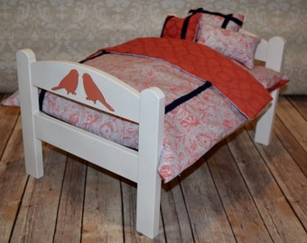 American Girl Doll Bed Navy & Coral