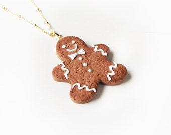 Elfi Handmade Cute Christmas Gingerbread Man Cookie Necklace, Cookie Jewelry, Mini Cookie Necklace, Kawaii,perfect for Christmas gifts
