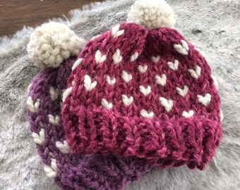 Chunky Knit Beanie // Chunky Knit Baby Hat // Baby Toque // Chunky Knit Toddler Hat // Pom Pom Hat // Baby Pom Pom Beanie // Toddler Beanie