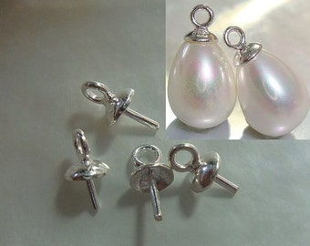 4 pcs, 7x4mm, 925 Sterling Silver Bead cap with peg and link, For Half drilled pearls and beads
