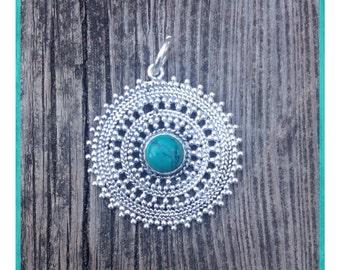 TURQUOISE Mandala Pendant. Turquoise Necklace. Brass pendant