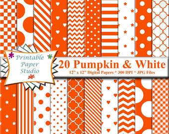 Pumpkin Orange Digital Paper Pack, Orange Colored Paper for Scrapbooking & Cardmaking, Orange Patterned Paper, Instant Download Digital File