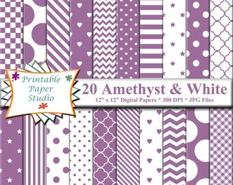 Amethyst Purple Digital Paper Pack, 12x12 Purple Colored Paper for Scrapbooking & Card Making, Purple Patterned Paper Instant Download File